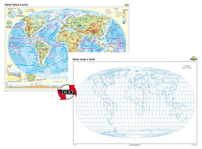 Harta Fizica A Lumii Harta Muta A Lumii Eduvolt