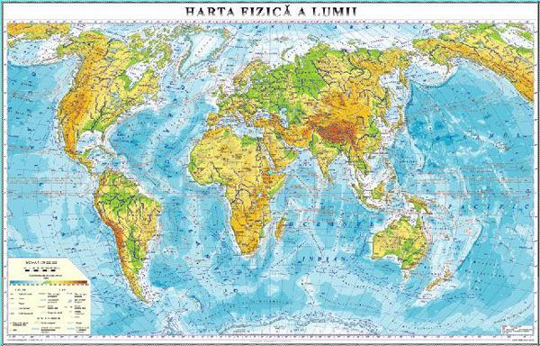 Harta Fizică A Lumii 1400x1000 Mm Eduvolt