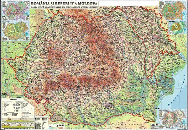 Romania Si Republica Moldova Harta Fizică Administrativă Si A