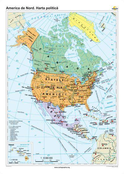 America De Nord Harta Politica 1600x1200 Mm Eduvolt