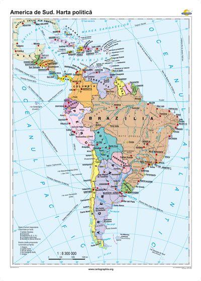 America De Sud Harta Politica 1600x1200 Mm Eduvolt