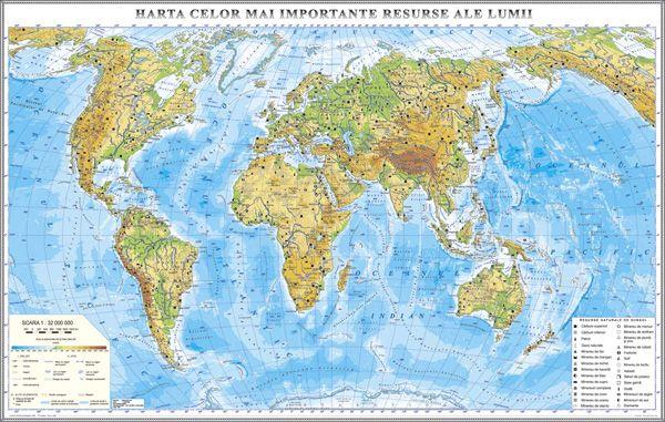 Harta Fizică A Lumii Si A Principalelor Resurse 3500x2400 Mm